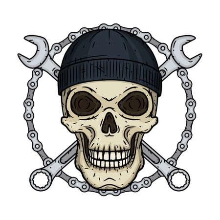 Skull in black hat with wrenche. Vector skull with spanner. 向量圖像