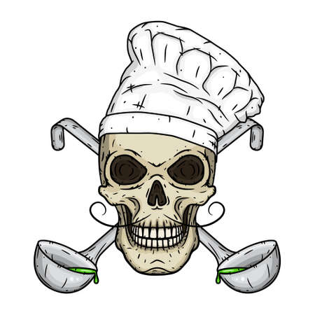 Chef skull. Skull in toque with crossed serving spoon. 向量圖像