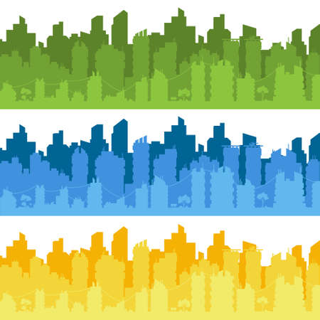 City landscape. City silhouette with windows. Vector Illustration.