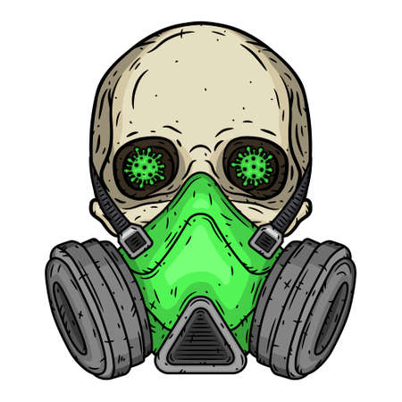Skull. Skull with gas mask. Skull with respirator. 向量圖像