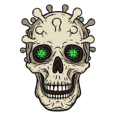 Skull the concept of the dangerous coronavirus COVID-19. Vector illustration. 向量圖像