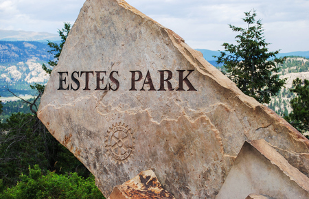 Estes Park sign. Statutory town in Larimer County, Colorado, United States.