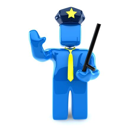 Police Officer with Stick Stock Photo - 8043484