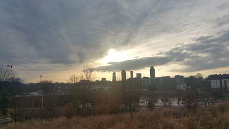 ミッドタウンの夕日 写真素材
