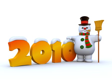 besom: 2010 Snowman 1 Stock Photo