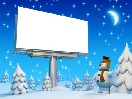 Copyspace lightbox and snowman photo