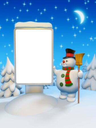 Copyspace lightbox and snowman Stock Photo - 6054335