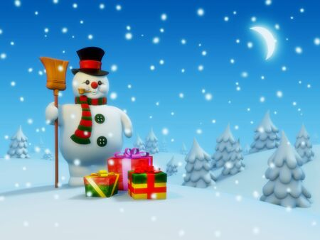 ポストカード: 雪だるまとプレゼント