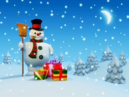 Postcard: snowman and presents Stock Photo - 6054334