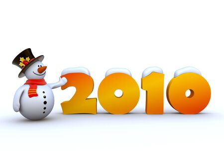Snowman's 2010 greeetings Stock Photo - 6054268