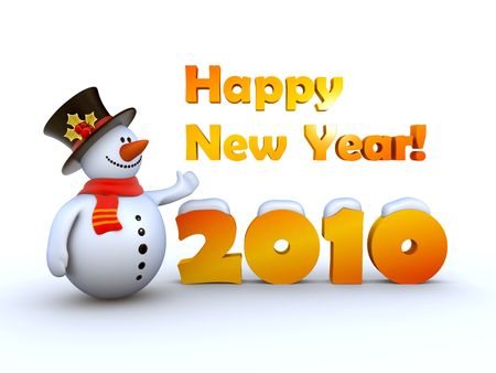 dappled: Happy New Year 2010 from fancy snowman! Stock Photo