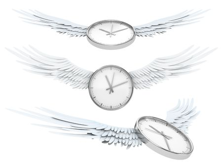 spent: Pretty flying time (Time spending concept - clock with wings)