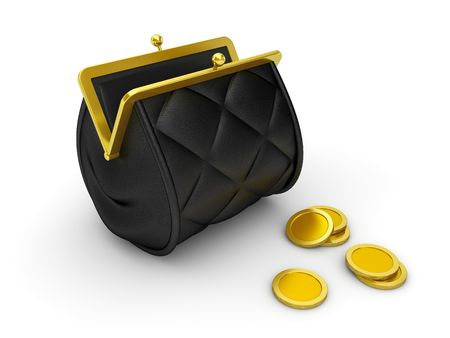 tight filled: Purse (Vintage tight filled wallet with locking pawl and coins) Stock Photo