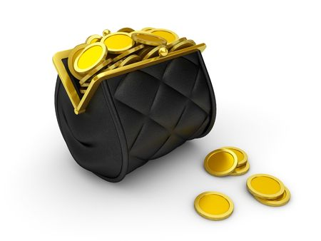 tight filled: Purse Series and falling money (Vintage tight filled wallet with locking pawl and coins) Stock Photo