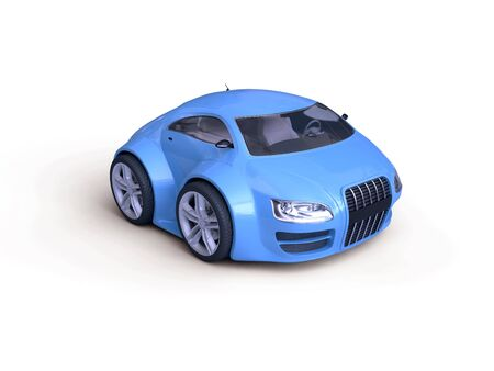 nonexistent: Baby Coupe Series Front View  (Little Blue Tiny Isolated Concept Car)