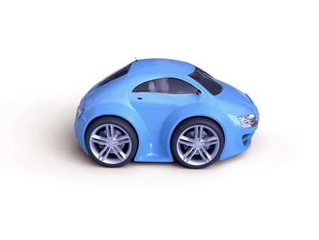 Baby Coupe Series Side View  (Little Blue Tiny Isolated Concept Car)