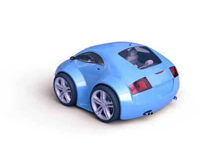 nonexistent: Baby Coupe Series Rear View  (Little Blue Tiny Isolated Concept Car) Stock Photo