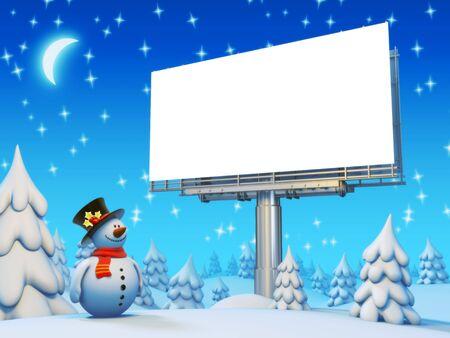 Copyspace billboard and snowman series photo