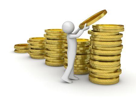 Homme de collecte de fonds (personnage de série isolé de finances et pièces de monnaie sur fond blanc) Banque d'images - 6176486