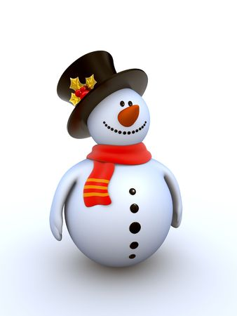 dappled: Snowman isolated winter series (fancy snowman on white background isolated) Stock Photo