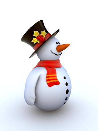 silk hat: Snowman isolated winter series (fancy snowman on white background isolated) Stock Photo