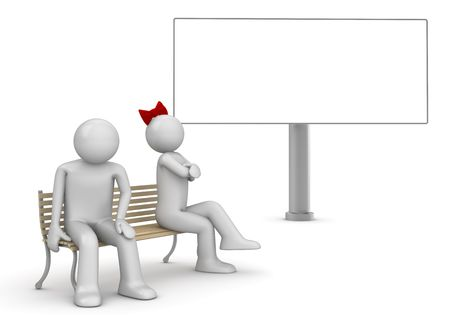 Offended man and woman on a bench with copyspace (love, valentine day series; 3d isolated characters)