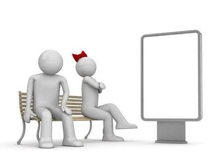 Offended man and woman on a bench with copyspace (love, valentine day series; 3d isolated characters) photo