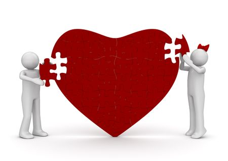 Loving heart romantic puzzle (love, valentine day series; 3d isolated characters) photo