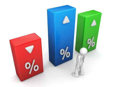 downfall: Indicators series (3d character isolated and percentage graph bars) Stock Photo