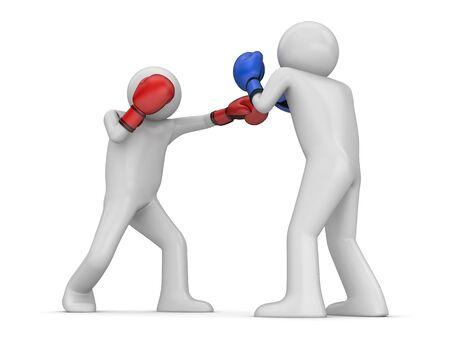 pugilist: Boxeadores (3d caracteres aislados sobre fondo blanco, serie de deportes)