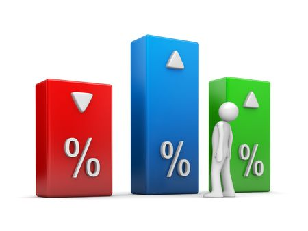 unrecognisable: Indicators series (3d character isolated and percentage graph bars) Stock Photo