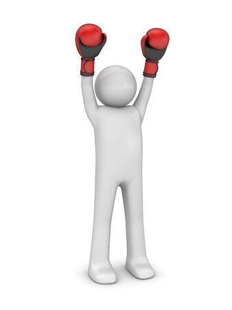pugilist: Boxeador ganador (serie de deportes de personajes aislados 3d)  Foto de archivo