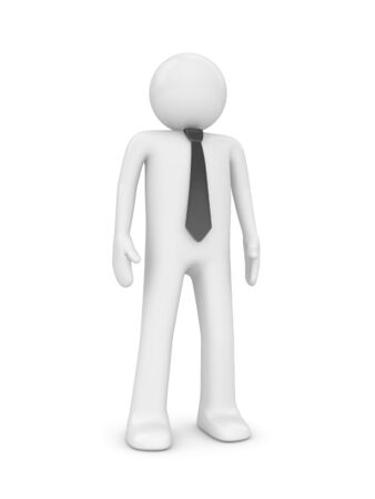 employers: Standing man with tie (people at office series; 3d isolated character)