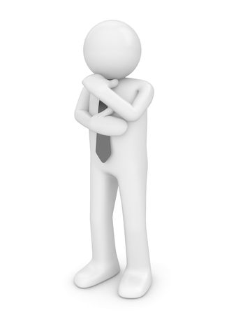 Thinking man with tie (people at office, stuff, manager series; 3d isolated character) Stock Photo