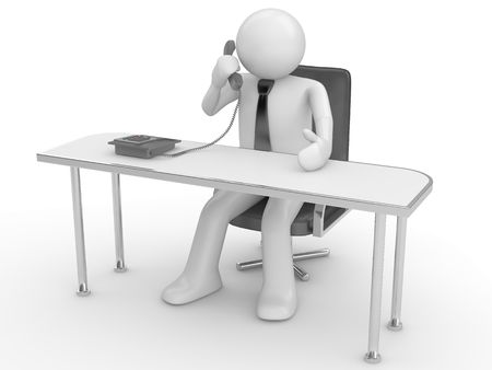 Calling man at workplace (people at office, stuff, manager series; 3d isolated character) photo