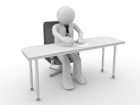 person writing: Writing man at workplace (people at office, stuff, manager series; 3d isolated character)