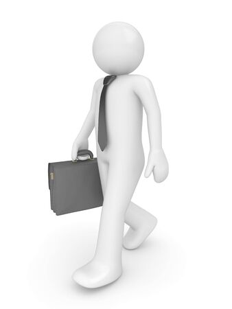 Man with briefcase (people at office, stuff, manager series; 3d isolated character) photo