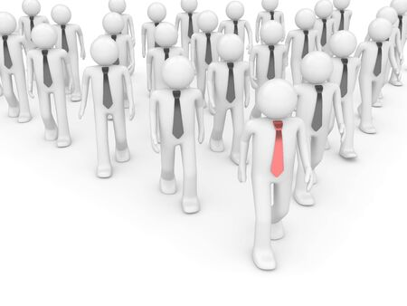 Team leader in group (people at office, stuff, manager series; 3d isolated characters) Stock Photo - 6218495
