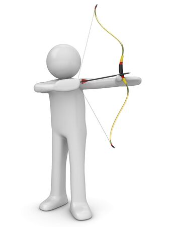 Archer aiming (3d isolated characters sports series) Stock Photo