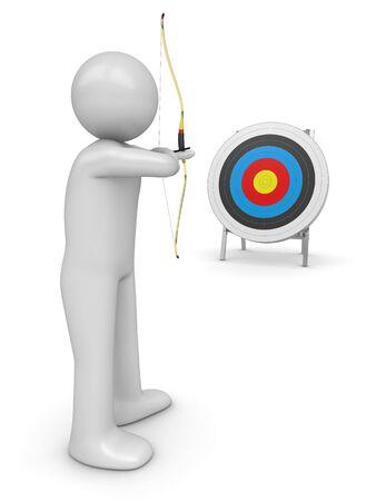 boogschutter: Archer gericht doel (3d geïsoleerde tekens sport series)
