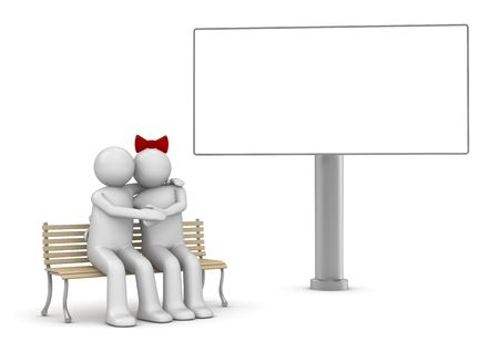 Embracing couple on a bench with copyspace (love, valentine day series; 3d isolated characters)