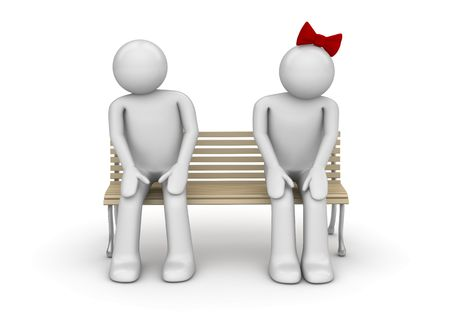 Shy couple on a bench (love, valentine day series; 3d isolated characters)