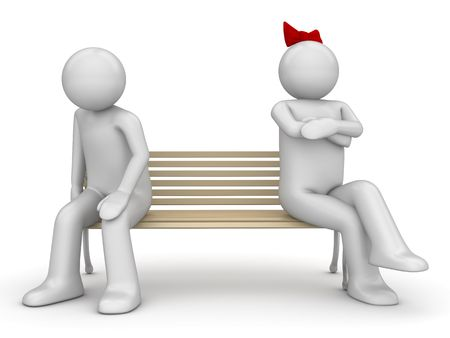 Offended man and woman on a bench (love, valentine day series; 3d isolated characters) photo