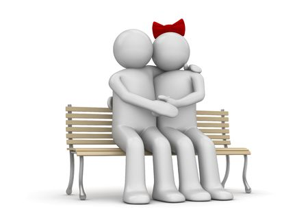 Embracing couple on a bench (love, valentine day series; 3d isolated characters) photo