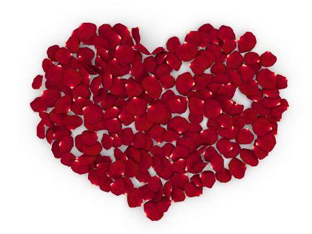 Rose petals heart (love, valentine day series) Banco de Imagens