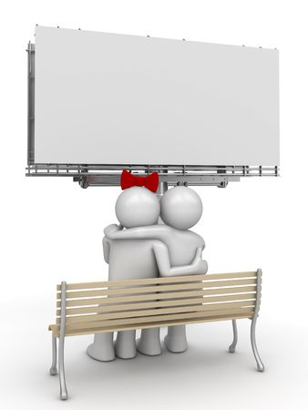 Embracing couple on a bench with copyspace (love, valentine day series; 3d isolated characters) photo