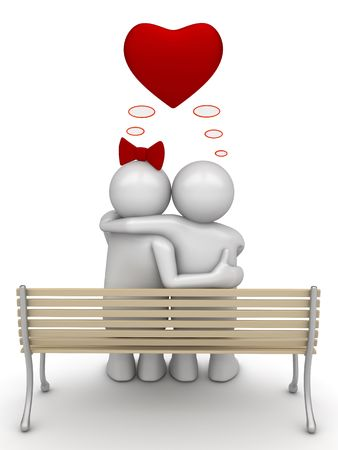 Love thinking embracing couple 2 (love, valentine day series; 3d isolated characters) photo