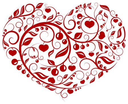 Serie de patrón con enfriar buscando floral de patrón de corazón  Foto de archivo - 6218564