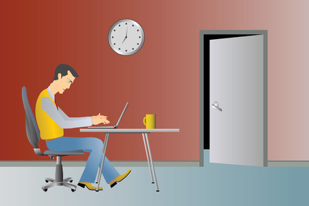 People at work series vector illustration with man and laptop