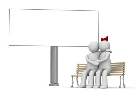 Embracing man and woman on a bench with copyspace (love, valentine day series; 3d isolated characters) photo